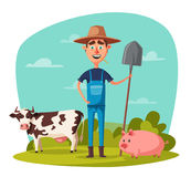 Funny farmer. Cartoon vector illustration. Rural man, village or countryside. Old redneck, gardener person. Agriculture and farming Royalty Free Stock Images