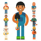 Farmer character man agriculture person profession rural gardener worker farming people vector illustration. Stock Image