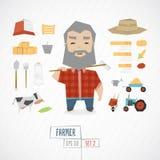 Funny farmer character Stock Photography