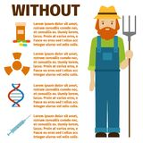 Farmer character man infographic agriculture person farm profession rural gardener worker people vector illustration. Stock Images