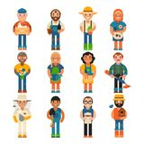 Farmer worker people character agriculture person profession farming life vector illustration. Funny farmer character isolated cartoon agriculture person and Royalty Free Stock Photo