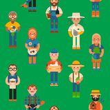 Farmer worker people character agriculture person profession farming life vector seamless pattern background . Royalty Free Stock Image