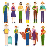 Funny farmer character isolated cartoon man agriculture person and happy rancher profession rural farming gardener Stock Photos