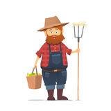 Funny farmer character. Royalty Free Stock Images