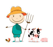 Funny farmer and cow, pig, cock . Isolated illustration Royalty Free Stock Photography