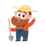 Funny farmer, gardener character, holding shovel, waving hello, greeting. Funny farmer, gardener character in straw hat and overalls holding shovel, waving hello vector illustration