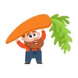 Funny farmer, gardener character in overalls holding huge, giant carrot Stock Photos