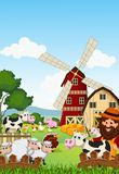 Funny farmer at his farm with a bunch of farm animals Royalty Free Stock Image