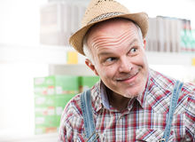 Funny farmer at supermarket Royalty Free Stock Images