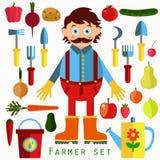 Funny farmer vector set Stock Photos
