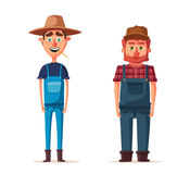 Funny farmers. Cartoon vector illustration. royalty free illustration