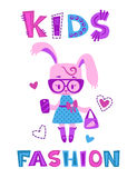 Funny fashion kids illustration Royalty Free Stock Photos