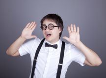 Funny fashion men in suspender Royalty Free Stock Photos