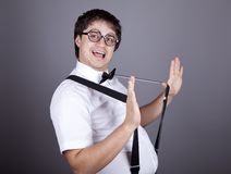 Funny fashion men in suspender Stock Photos
