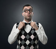 Funny fashion nerd stock image