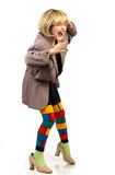 Funny fashionable little girl. Stock Photo