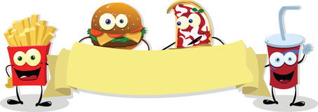 Funny Fast Food banner stock illustration