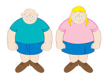 Funny fat boy and girl cartoon Stock Photography