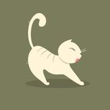 Funny fat cat stretches. Vector illustration Royalty Free Stock Photo