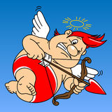 Funny fat cupid. Fat cupid in red underpants holding a bow and arrow Stock Photography