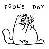 Funny fat doodle cat makes a comic face. Vector Illustration Stock Image