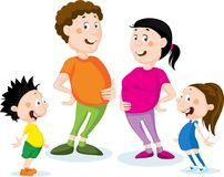 Fat family cartoon flat design illustration isolated on white Royalty Free Stock Photography