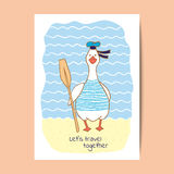 Funny fat goose sailor with the paddle. Greeting card design. Royalty Free Stock Photography