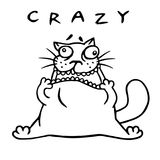 Funny fat mad cat stretched out his mouth. Vector illustration Royalty Free Stock Photo