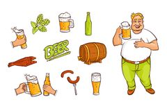 Beer bottle, mug, glass, drinking man, appetrizers. Funny fat man with a pint and set of beer related objects bottle, mug, glass, malt, hop, fish, sausages Royalty Free Stock Photos