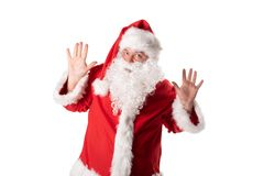 Funny fat man in Santa costume. Christmas and New Year stock photography
