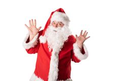 Funny fat man in Santa costume. Christmas and New Year royalty free stock image