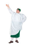 Funny fat man wearing German Bavarian clothes. Funny fat man wearing traditional German Bavarian clothes, isolated on white Royalty Free Stock Images