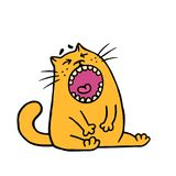 Funny fat orange cat is upset and screams meow. Vector illustration. Cartoon animal character Stock Images