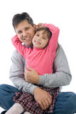 Funny father and daughter. Happy family - father and daughter Stock Photography