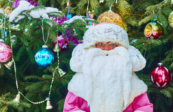 Funny Father Frost by Christmas tree Royalty Free Stock Photography