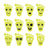 Funny feet emoticon set.Feet different emotions collection. Stock Photography