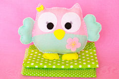 Funny felt owl toy. Easy felt sewing crafts for kids Royalty Free Stock Images