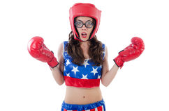 Funny female boxer Stock Image