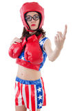 Funny female boxer Royalty Free Stock Image