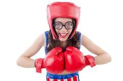 Funny female boxer Stock Photos