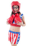 Funny female boxer Stock Images