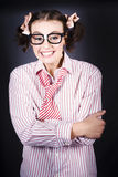 Funny Female Business Nerd With Big Geeky Smile Royalty Free Stock Images
