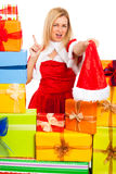Funny female Christmas Santa Royalty Free Stock Photography