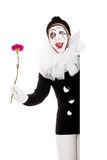 Funny female clown with flower is happy Royalty Free Stock Image