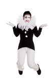 Funny female clown is jumping. Isolated Royalty Free Stock Photos