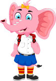 Funny female elephant cartoon going to school. Illustration of funny female elephant cartoon going to school Stock Photos