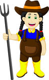 Funny female farmer cartoon holding rake. Illustration of funny female farmer cartoon holding rake vector illustration