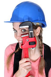 Funny female laborer Stock Images