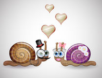 funny female and male snails. Royalty Free Stock Photo