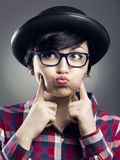 Funny female Nerd Stock Photo